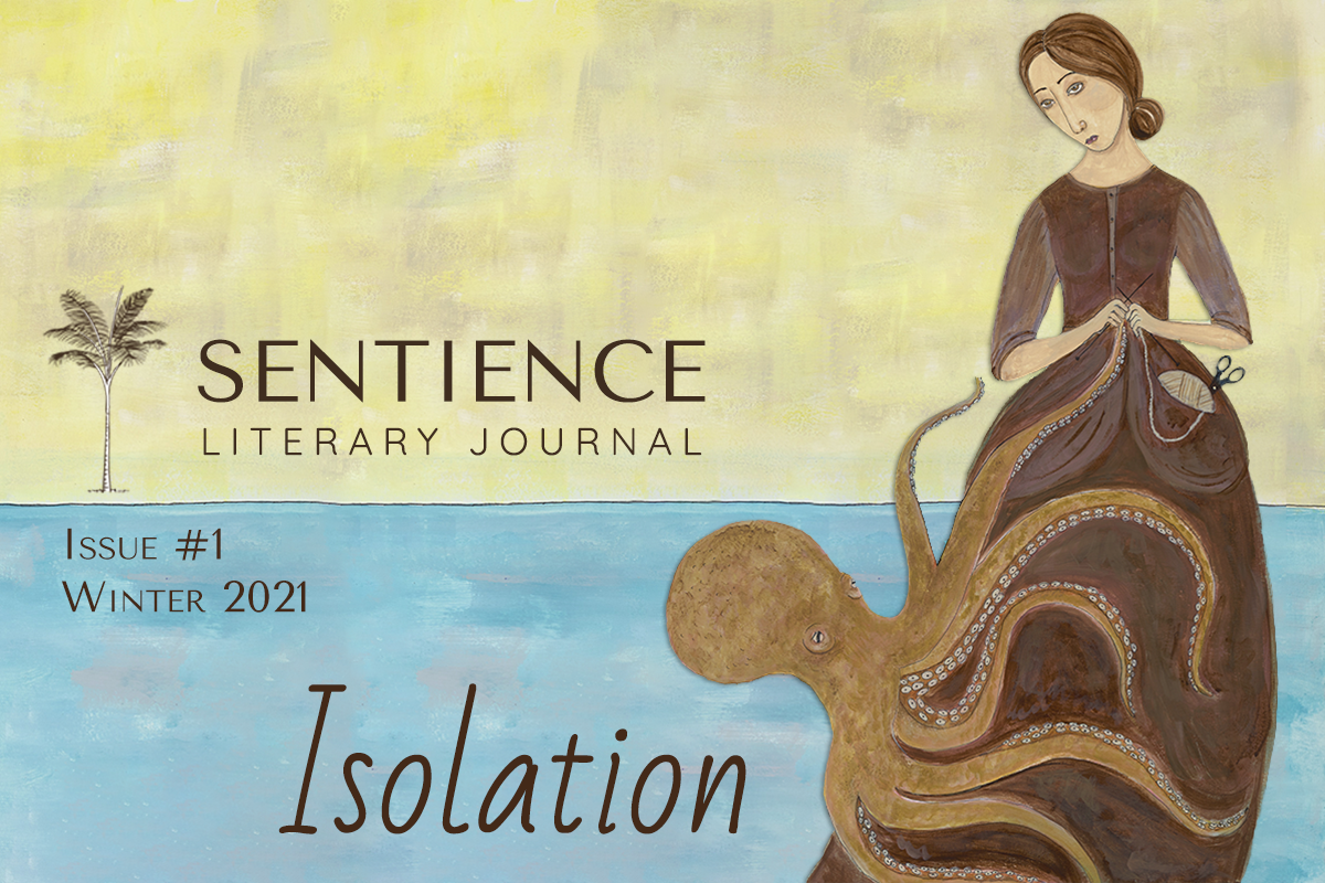 Issue Number One Isolation title with image of a woman in period dress knitting an octopus