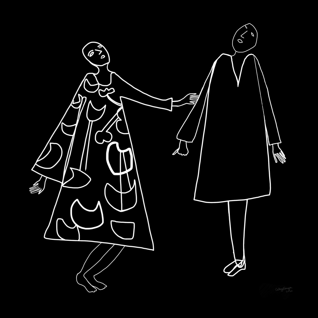 Line drawing by Caley O'Dwyer of two people facing one another wearing embellished and plain robes respectively